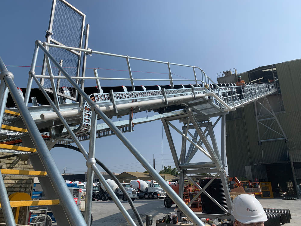 Close up view of conveyor replacement project at a plant