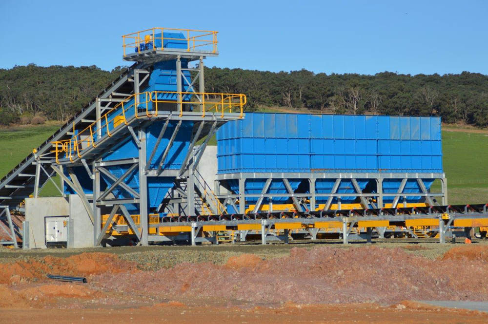 A picture of a finalised sand screening plant