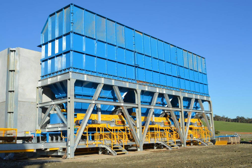 A picture of a close up view of the finalised sand screening plant