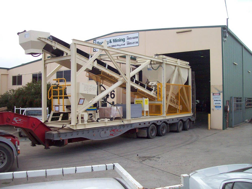 A picture of a mobile concrete batching plant